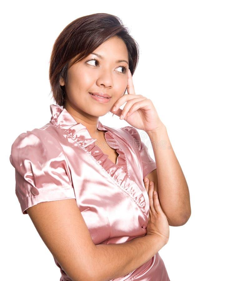 Penser asiatique de femelle image stock