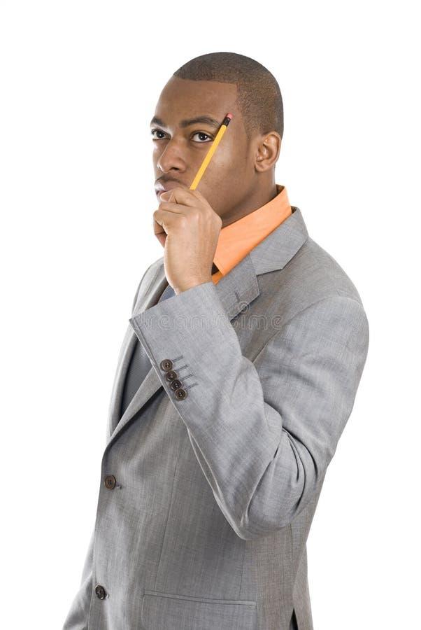 Penser d'homme d'affaires d'Afro-américain photo stock