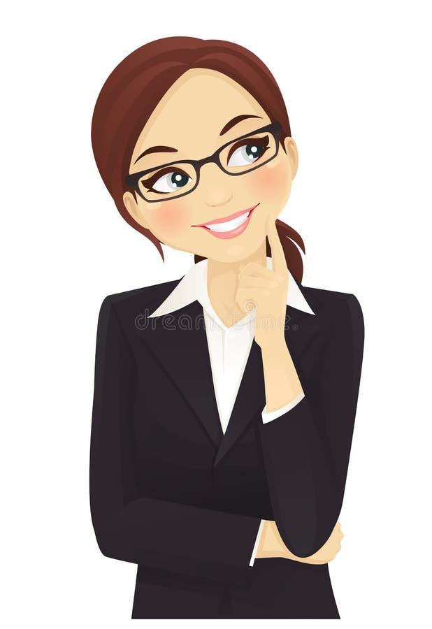 Penser de femme d'affaires? d'isolement sur le blanc illustration stock