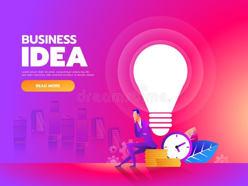 penseur Homme d'affaires s'asseyant avec l'ampoule d'idée et le fond d'argent Illustration de vecteur illustration stock