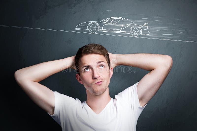 Pensez à une voiture photos stock