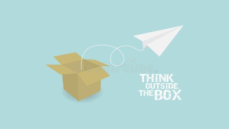 Pensez en dehors de au concept de boîte palne de papier et boîte de papier illustration stock