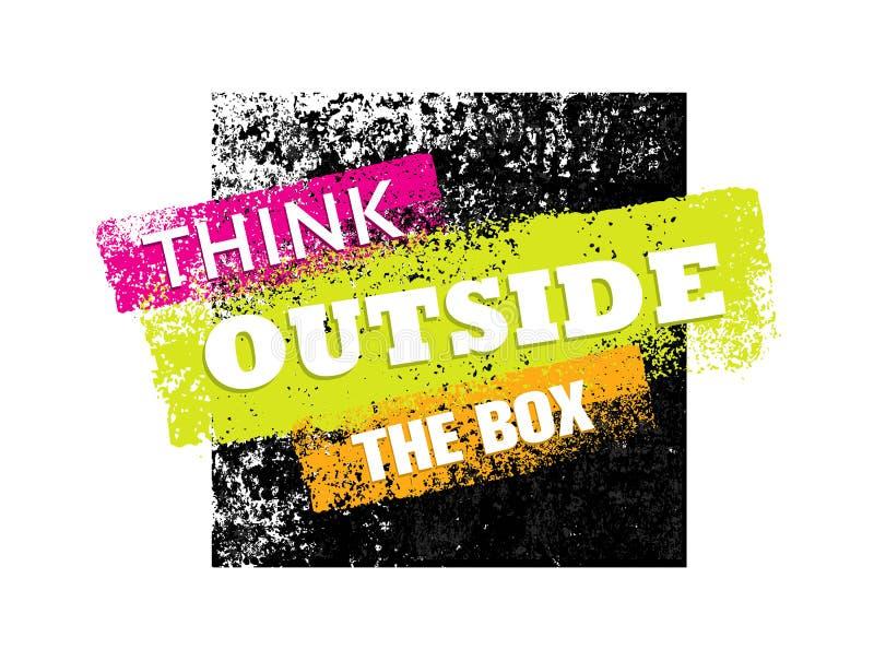 Pensez en dehors de la composition créative en lettrage de motivation grunge artistique de boîte Élément de conception de vecteur illustration de vecteur