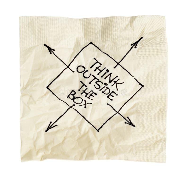 Pensez en dehors du cadre sur une serviette photo stock