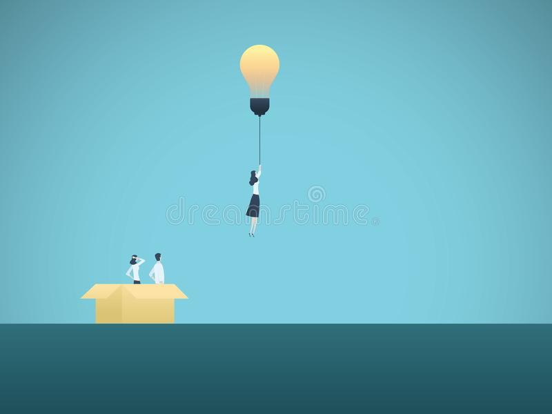 Pensez en dehors du concept de vecteur d'affaires de boîte Vol de femme d'affaires avec l'ampoule Symbole de la créativité, intel illustration stock