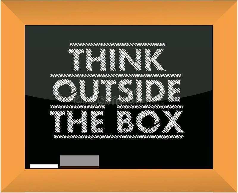 Pensez en dehors du tableau noir de titre de cadre illustration de vecteur