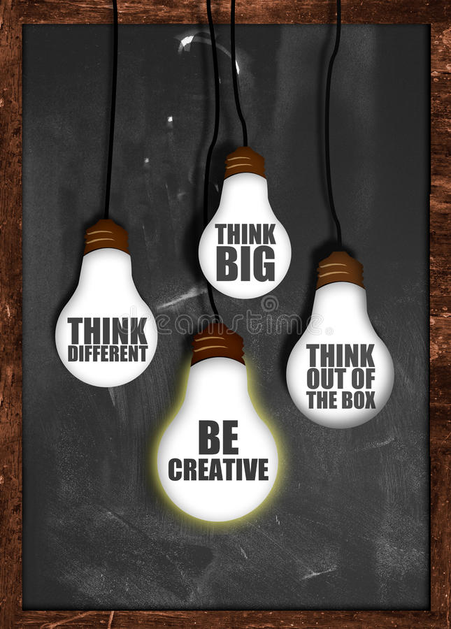 Pensez grand, soyez créatif images stock