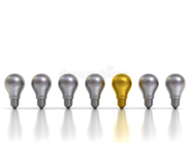 Pensez l'ampoule du concept un d'idée différente d'or se tenant des ampoules argentées en métal avec des réflexions illustration libre de droits
