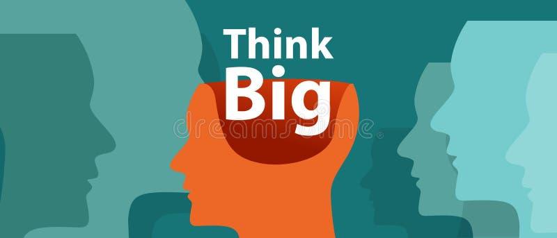 Pensez l'imagination créative d'innovation de vecteur de motivation de grande d'inspiration illustration d'idée illustration stock