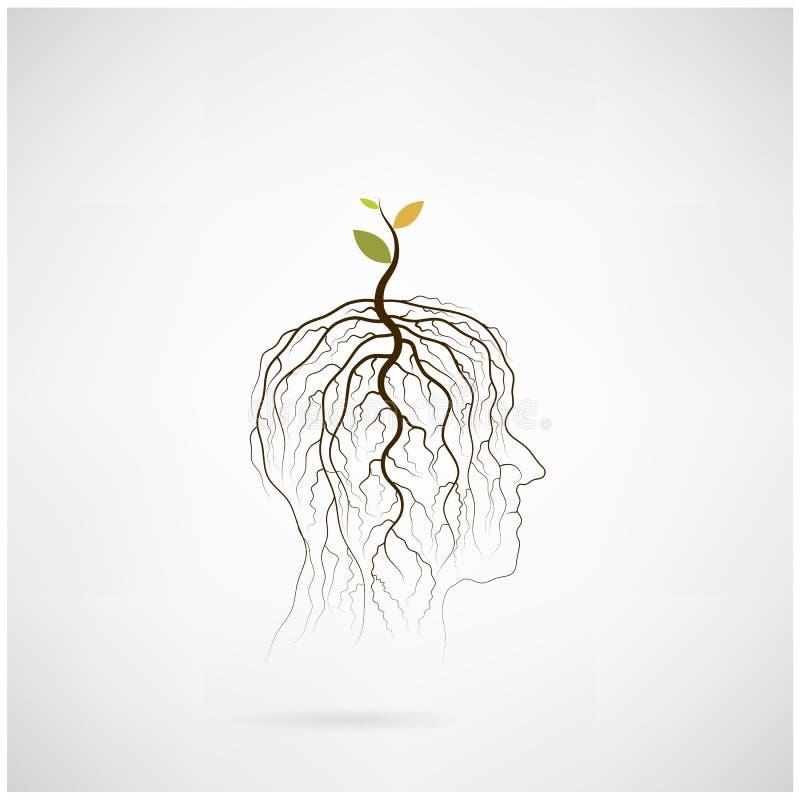Pensez le concept vert L'arbre de la pousse verte d'idée se développent sur la tête humaine illustration stock