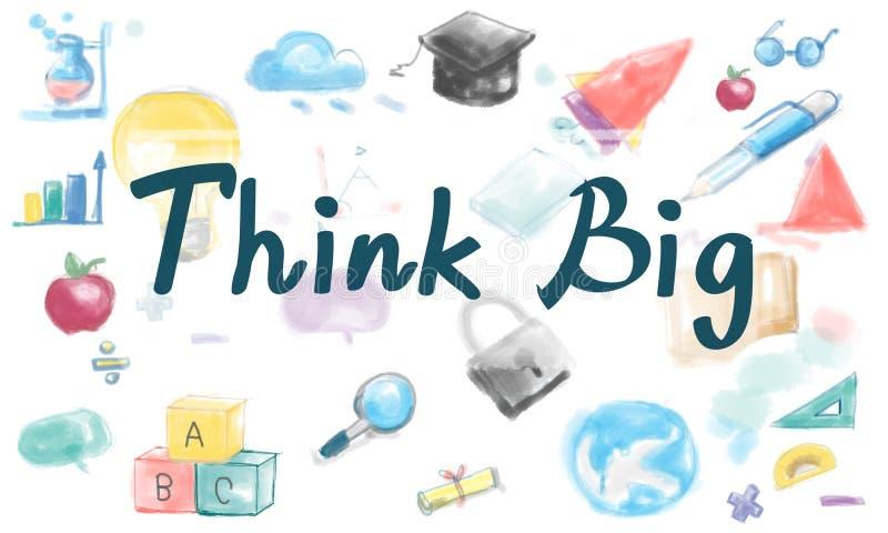 Pensez le grand concept visionnaire de pensée d'inspiration d'attitude illustration stock