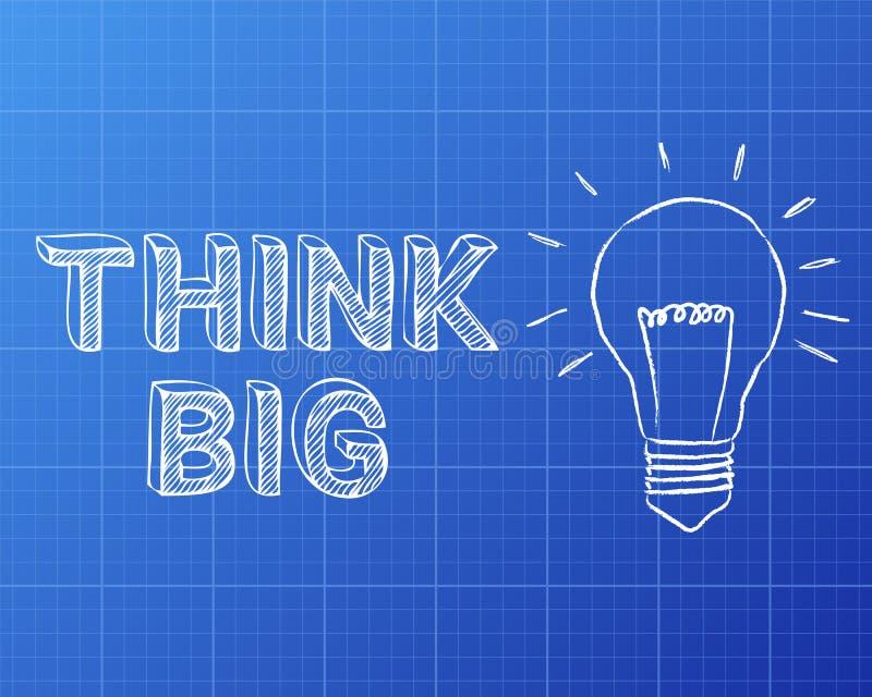 Pensez le grand modèle d'ampoule illustration libre de droits