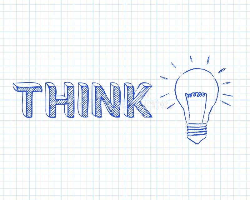 Pensez le papier de graphique d'ampoule illustration de vecteur