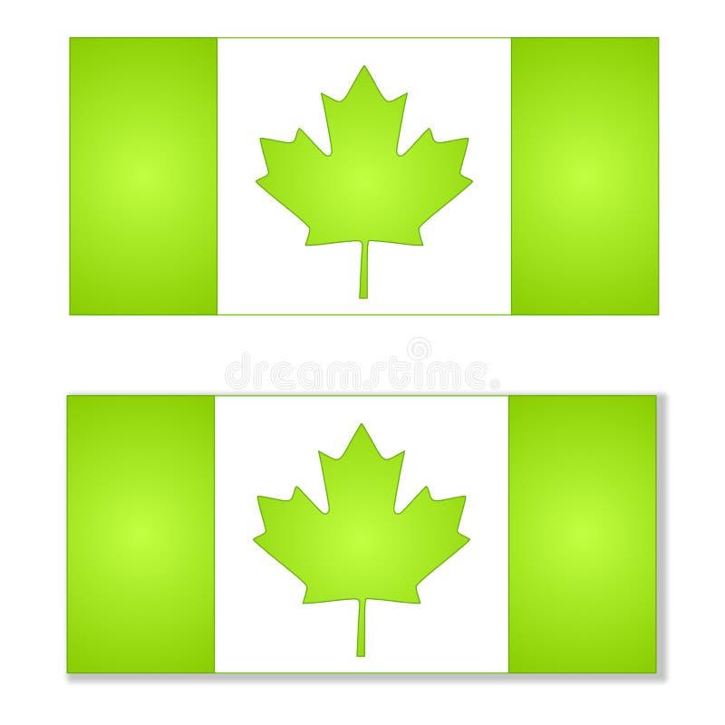 Pensez les indicateurs verts du Canada illustration stock