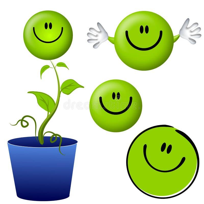 Pensez les personnages de dessin animé souriants verts de visage illustration libre de droits