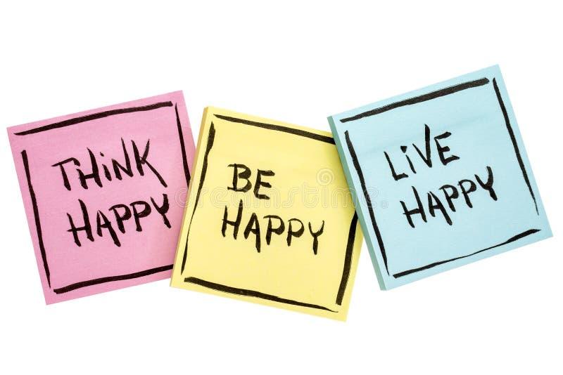 Pensez, soyez, heureux vivant - rappel positif image stock