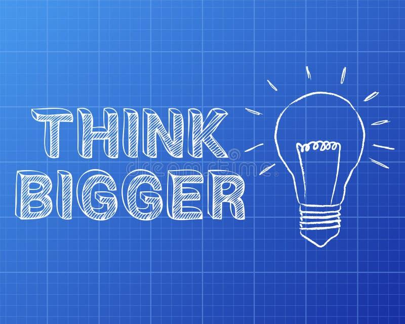 Pensez un plus grand modèle d'ampoule illustration de vecteur