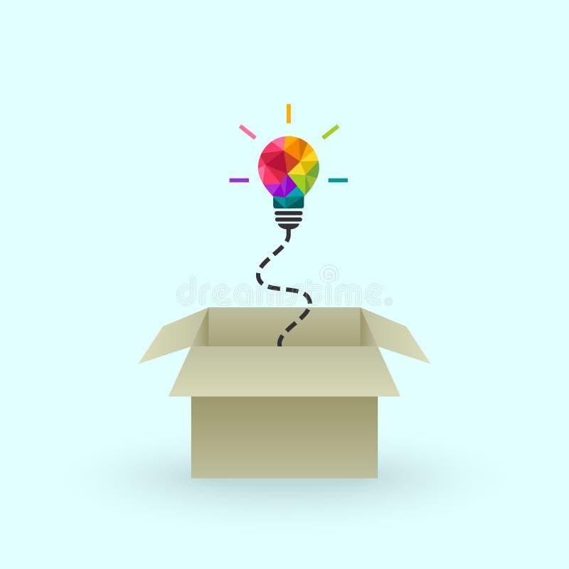 Pensi creativo il concetto con la poli lampadina bassa royalty illustrazione gratis