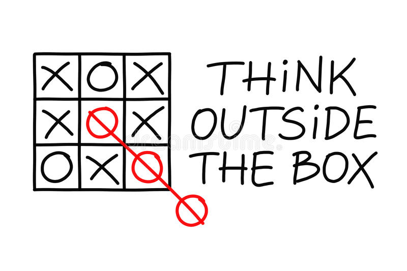 Pensi creativo il tic Tac Toe illustrazione di stock