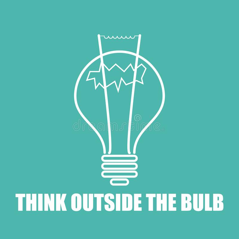 pensi fuori della lampadina nella progettazione piana illustrazione di stock