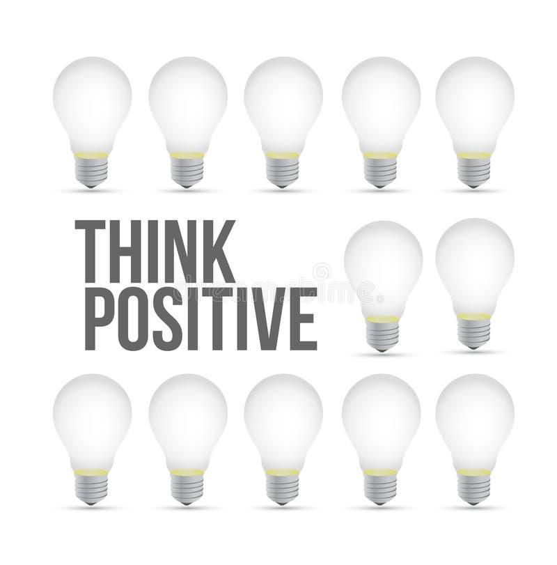pensi il concetto positivo del modello della lampadina di idea royalty illustrazione gratis