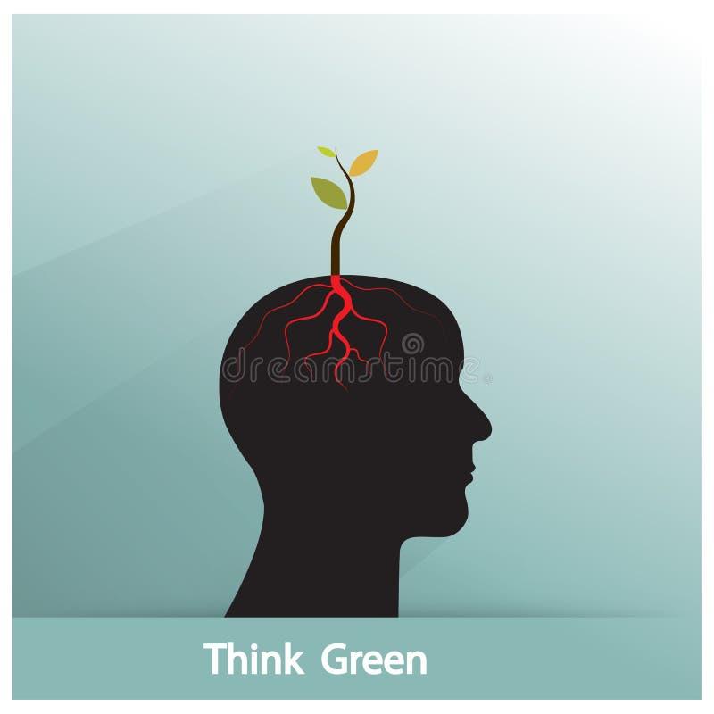 Pensi il concetto verde L'albero del tiro verde di idea si sviluppa su symb umano royalty illustrazione gratis