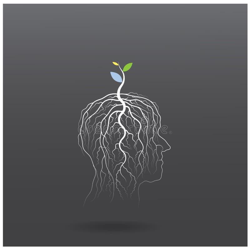 Pensi il concetto verde L'albero del tiro verde di idea si sviluppa sulla testa umana illustrazione di stock