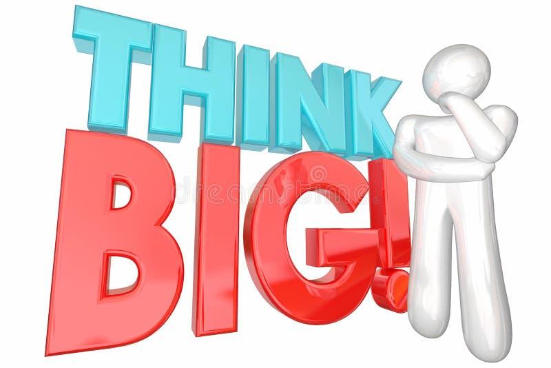 Pensi il pensatore potenziale massiccio di sogno potenziale di grandi idee enormi illustrazione di stock