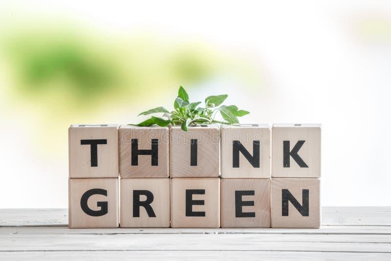 Pensi il segno verde con una pianta immagini stock