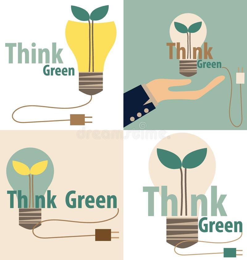 Pensi il verde, concetto di Eco Lampadina con l'albero all'interno Vettore IL royalty illustrazione gratis