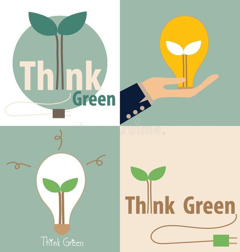 Pensi il verde, concetto di Eco Lampadina con l'albero all'interno Vettore IL illustrazione di stock