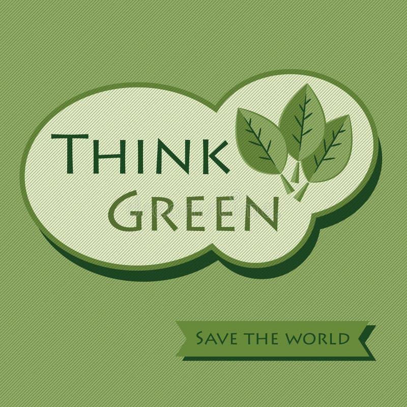 Pensi il verde - conservi l'icona dell'autoadesivo del mondo illustrazione vettoriale