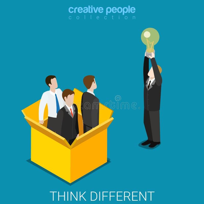 Pensi il vettore isometrico piano della scatola della lampadina dell'uomo d'affari differente di idea illustrazione vettoriale