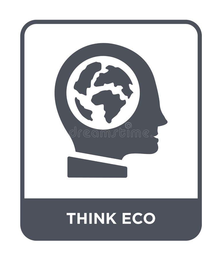 pensi l'icona di eco nello stile d'avanguardia di progettazione pensi l'icona di eco isolata su fondo bianco pensi il piano sempl illustrazione di stock