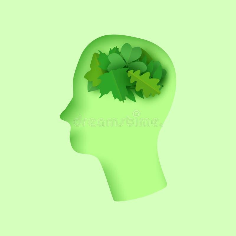 Pensi l'illustrazione verde di arte della carta del abstrat 3d con le foglie verdi del taglio della carta della testa dell'uomo C royalty illustrazione gratis