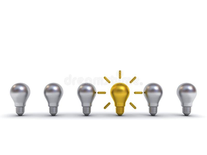 Pensi la lampadina di concetto uno di idea differente dell'oro che sta fuori dalle lampadine d'argento del metallo con le rifless illustrazione di stock