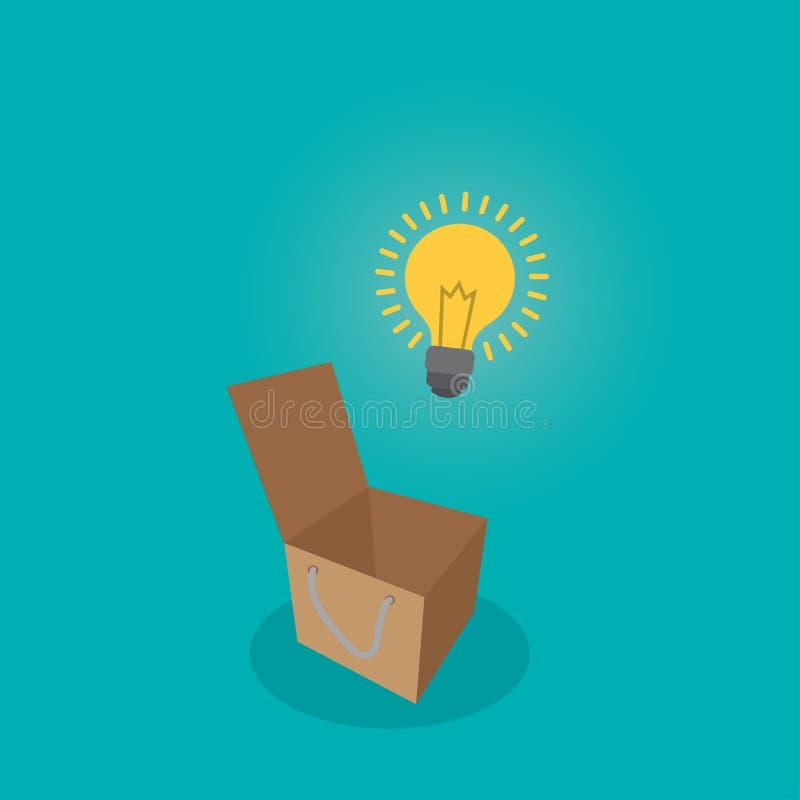 Pensi la lampadina fuori del concetto della scatola, pensi il concetto di idea, illustrazione piana di vettore di stile royalty illustrazione gratis