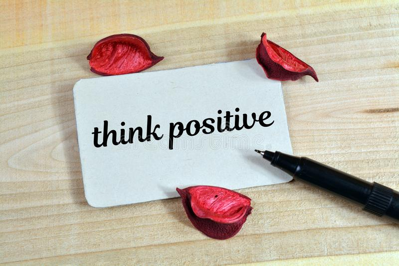 Pensi la parola positiva immagini stock