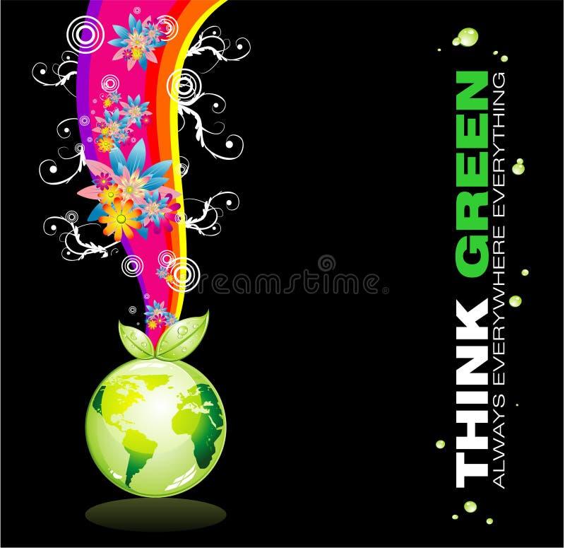 Pensi la priorità bassa della terra verde illustrazione di stock