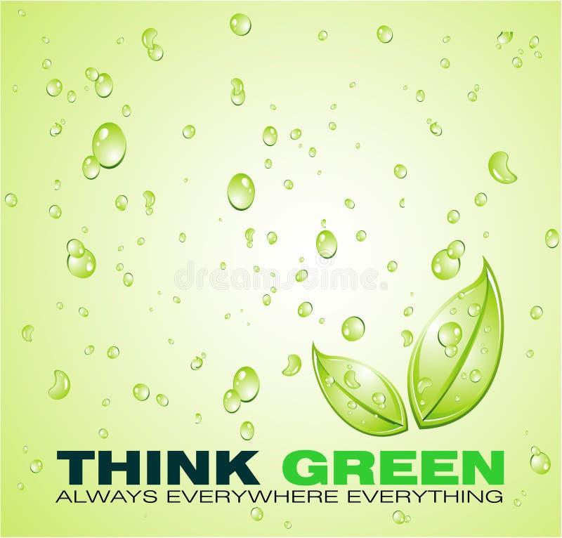 Pensi la priorità bassa verde dell'acqua illustrazione di stock
