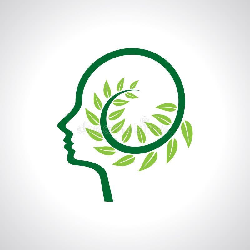 Pensi le foglie ed il cervello umano della terra di risparmi di verde illustrazione vettoriale