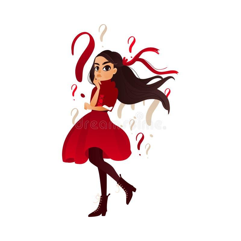 Pensiero adulto della ragazza del fumetto di Vectotr giovane royalty illustrazione gratis