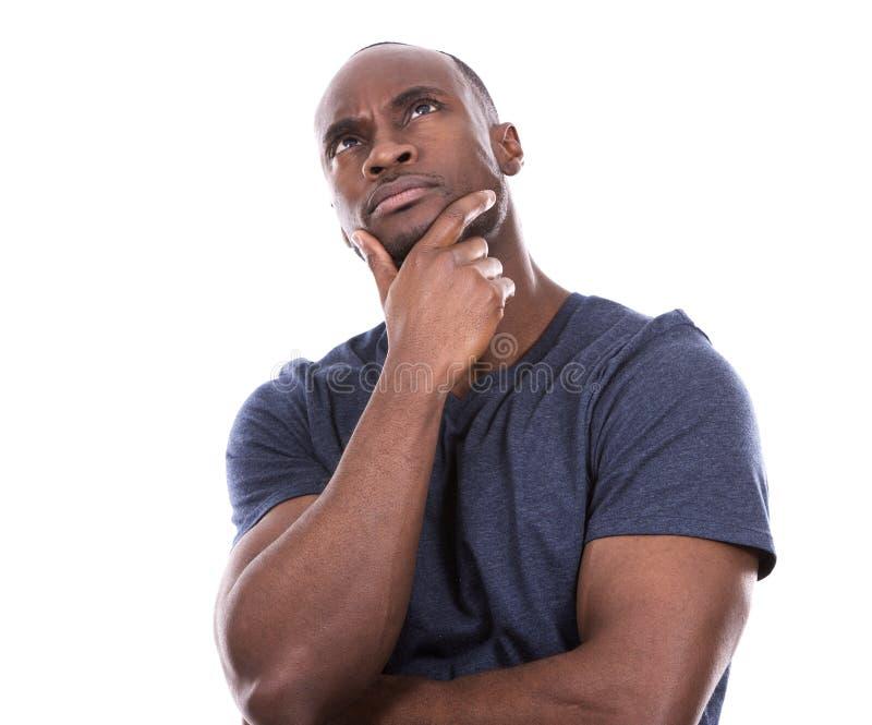 Pensiero bello dell'uomo di colore fotografia stock