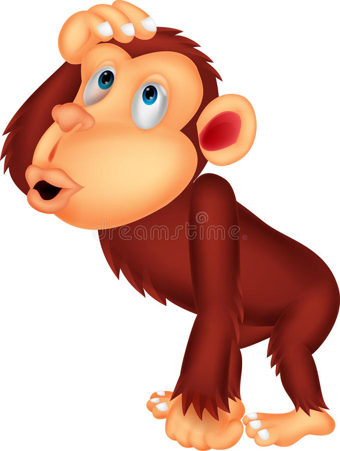 Pensiero del fumetto dello scimpanzè illustrazione di stock
