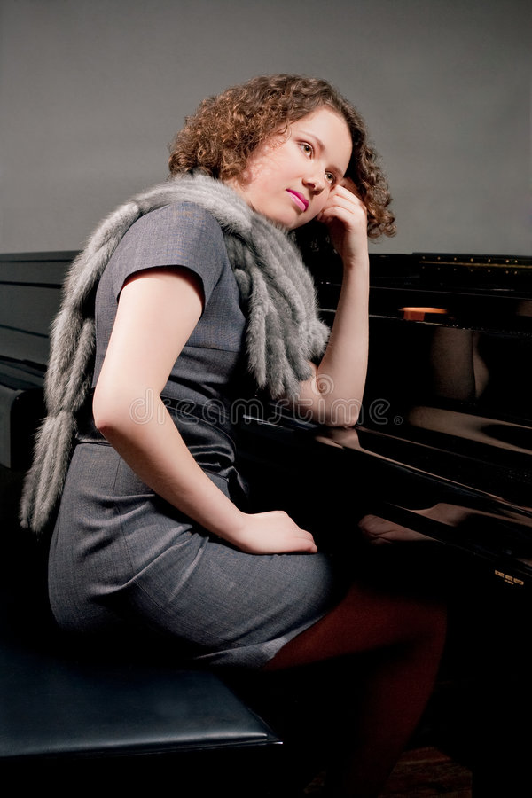Pensiero del pianista fotografia stock libera da diritti