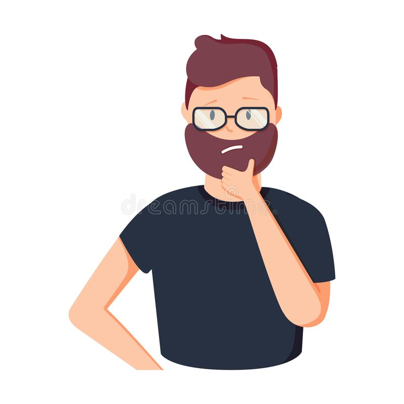 Pensiero divertente dell'uomo d'affari del fumetto Persona in vetri che hanno illustrazione di gesto 'brainstorming' creativo del royalty illustrazione gratis