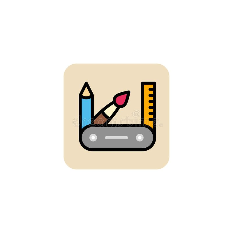 Pensil, broche, régua, ícone do caso no fundo branco Ilustração do vetor Eps 10 ilustração do vetor