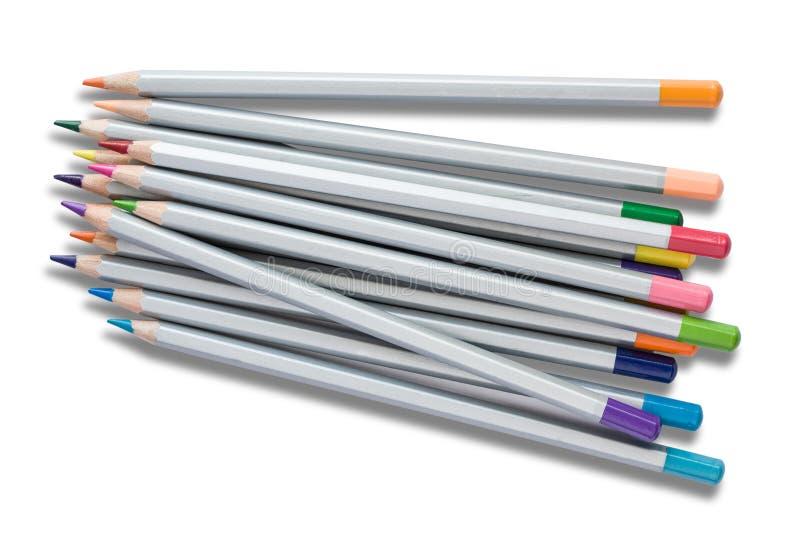 Pensils in rotem grün-blauem gelbem weißem und in anderen lokalisiert auf Hintergrund mit Textraum stockfotos