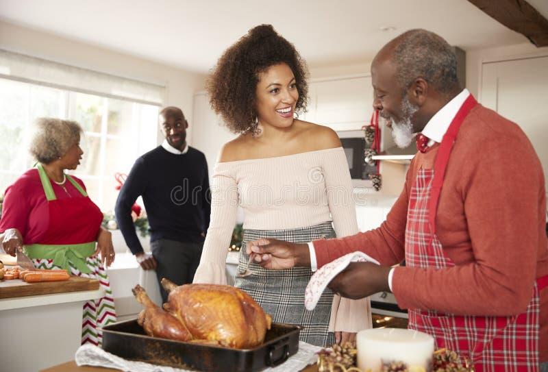 Pensionär för blandat lopp och unga vuxna familjemedlemmar som talar i köket, medan förbereda julmatställen tillsammans, slut upp royaltyfri bild