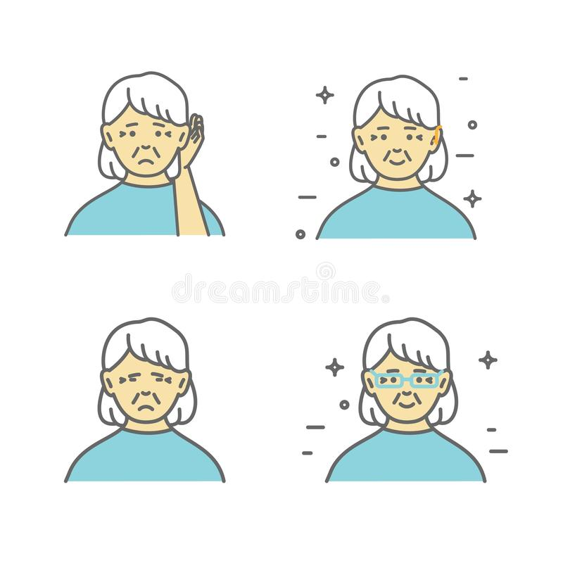 Pensionär lomhörd kvinnainnehavhand till hennes öra Vektorkonst, lägenhetdesign på isolerad bakgrund royaltyfri illustrationer